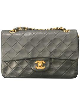 double-flap-vintage-medium-black-lambskin-leather-shoulder-bag by chanel