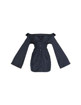 black-bardot-flare-sleeve-lace-up-shirt-dress by prettylittlething