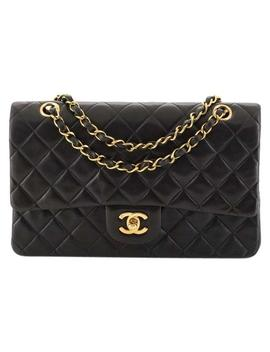 classic-flap-vintage-classic-double-quilted-lambskin-medium-black-leather-shoulder-bag by chanel