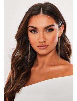 gold-look-ring-sleek-drop-earrings by missguided