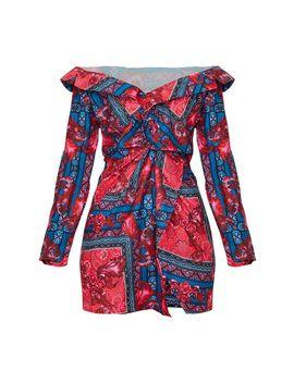 multi-paisley-bardot-knot-detail-blazer-dress by prettylittlething