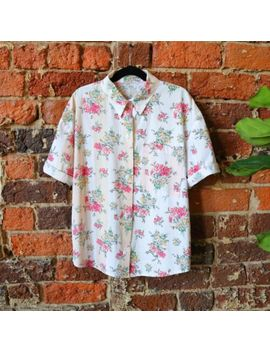 vintage-80s-floral-button-up-top-blouse-shirt-pastel-boxy-wide-super-cute-s by unbranded