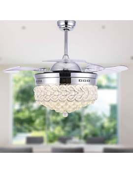 "modern-crystal-retractable-ceiling-fan-with-led-light,-remote---42"" by bella-depot"