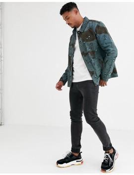 asos-design-denim-worker-jacket-in-overdyed-blue-camo-print by asos-design