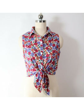 vintage-retro-90s-cropped-tie-front-floral-top-blouse-grunge-vtg-boho-cute-1990 by vintage