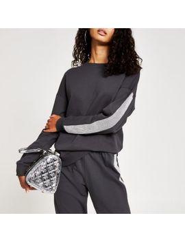 grey-diamante-long-sleeve-sweatshirt by river-island