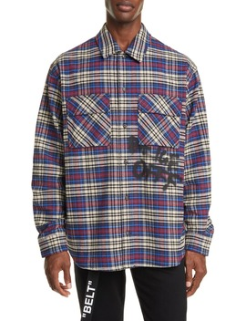 button-up-plaid-flannel-shirt by off-white