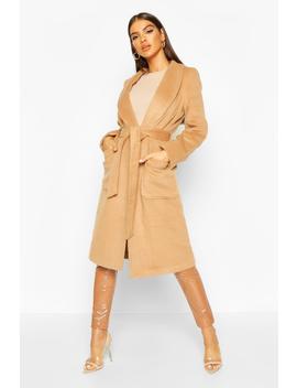 brushed-wool-look-robe-coat by boohoo
