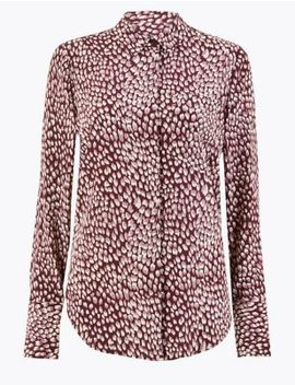 pure-silk-printed-relaxed-fit-shirt by marks-&-spencer