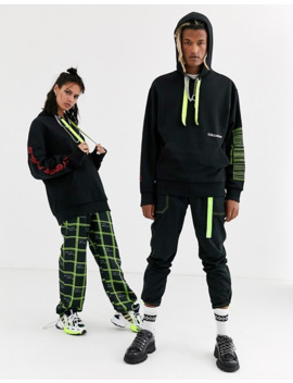 collusion-unisex-hoodie-with-drawcord-detail-and-print-in-black by collusion