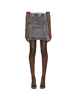 black-denim-high-waist-button-miniskirt by balmain