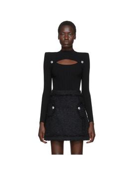 black-rib-knit-cut-out-sweater by balmain