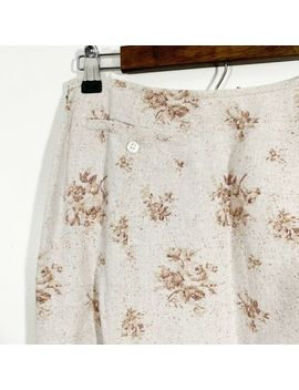 laura-ashley-size-8-womens-vintage-90s-tan-floral-100%-linen-a-line-maxi-skirt by laura-ashley