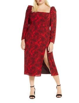 spatter-print-square-neck-long-sleeve-midi-dress by leith