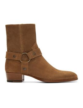 ブラウン-スエード-ワイアット-ブーツ by saint-laurent