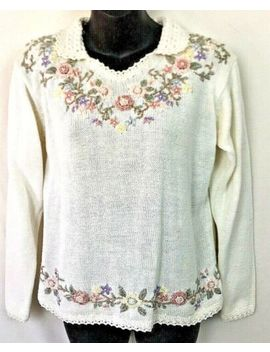 vintage-yarnworks-easter-floral-womens-sweater-embroidered-knit-size-small by yarnworks