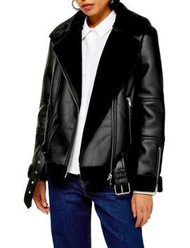 cora-faux-shearling-biker-jacket by topshop