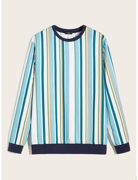 sheinmen-contrast-neck-striped-pullover by sheinside
