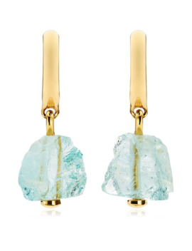 yellow-gold-vermeil-and-aquamarine-caroline-issa-pendant-huggie-earrings by monica-vinader