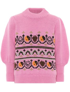 wool-and-alpaca-jacquard-sweater by ganni