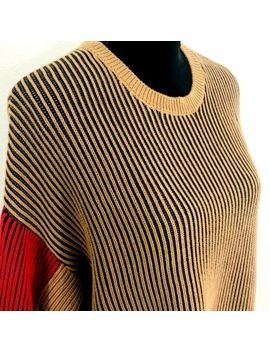 vintage-topshop-oversized-sweater-size-6-colorblock-brown-red-long-sleeve by topshop
