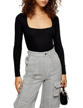 long-sleeve-square-neck-bodysuit by topshop