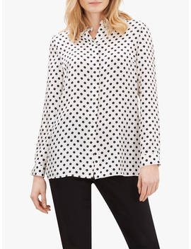 jaeger-polka-dot-silk-shirt,-white by jaeger