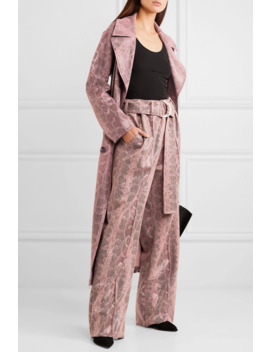 alaina-belted-snake-effect-coated-vegan-leather-wide-leg-pants by stand-studio