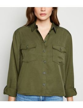 khaki-long-sleeve-utility-shirt by new-look