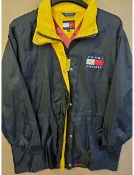 vintage-90s-tommy-hilfiger-mens-m-windbreaker-jacket-spell-out-black by tommy-hilfiger