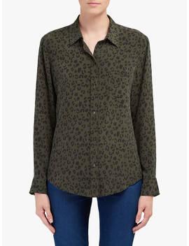 rails-kate-cheetah-print-silk-shirt,-dark-green by rails