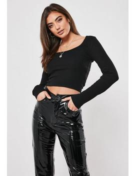 black-ribbed-scoop-neck-crop-top by missguided