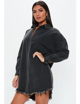 petite-black-oversized-denim-shirt-dress by missguided