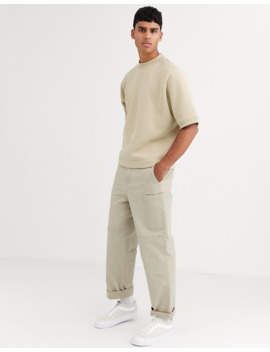 asos-white-oversized-short-sleeved-sweatshirt-in-stone by asos-white