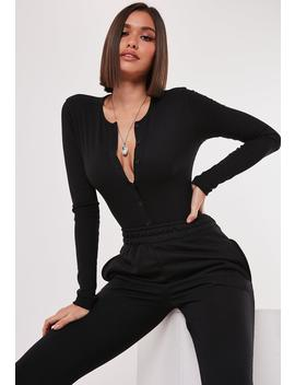 petite-black-button-front-ribbed-bodysuit by missguided