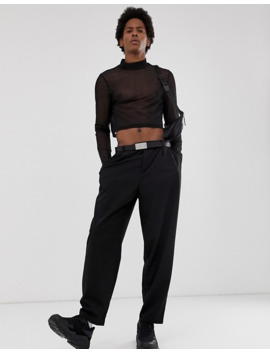 asos-design-skinny-cropped-long-sleeve-t-shirt-with-stretch-and-turtleneck-in-fine-mesh by asos-design
