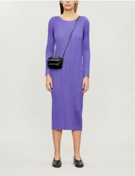 pleated-long-sleeved-woven-midi-dress by pleats-please-issey-miyake