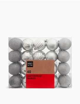 40-pack-silver-mix-shatterproof-baubles by marks-&-spencer