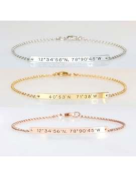 coordinate-bracelet,-sterling-silver-bar-bracelet,-wedding-gift,-engraved-location,-longitude-latitude,-bridesmaid-bracelet,-gift-for-women by etsy