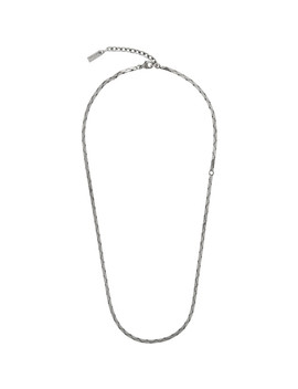 silver-rectangular-tube-chain-necklace by saint-laurent