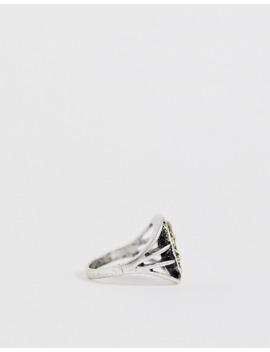 asos-design-–-siegelring-aus-verschiedenen-metallen-mit-ausgespartem-ankerdesign,-gold--und-silberfarben-poliert by asos