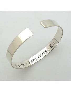 secret-message-bracelet-sterling-silver-message-bracelet-custom-cuff-bracelet-engraved-bracelet-inspirational-quote-hidden-message-cuff by etsy