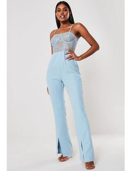 blue-lace-bust-cup-cami-jumpsuit by missguided
