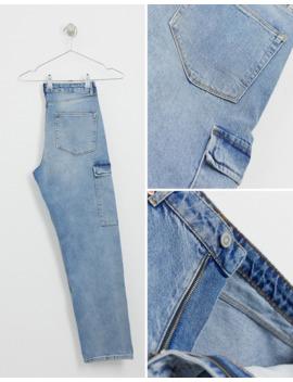 asos-design---jeans-dritti-cargo-blu-lavaggio-chiaro-vintage by asos-design