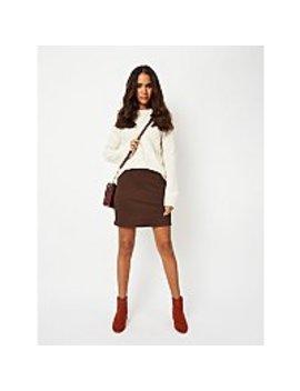 brown-dogtooth-jacquard-skirt by asda