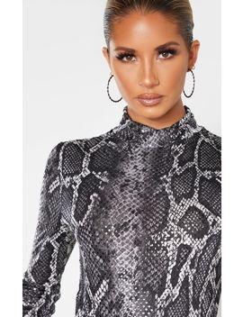 grey-snake-sequin-high-neck-bodysuit- by prettylittlething