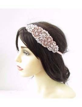 thin-ribbon-tie-rose-gold-silver-pearl-bridal-headband-headpiece-wedding-4174 by etsy