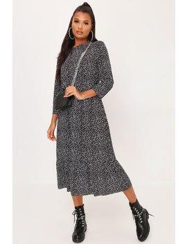 black-black-polka-dot-frill-hem-midi-dress by i-saw-it-first