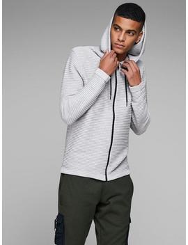 ribbed-zip-up-knit-hoodie by jack-&-jones