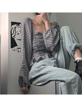 maisee---plaid-off-shoulder-puff-sleeve-blouse by maisee